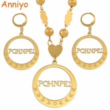 Anniyo Micronesia Pohnpei Island Big Pendant Beads Necklaces Earrings sets Round Ball Chains Ethnic Jewelry Gifts #047721 anniyo micronesia jewelry sets with stone pendant earrings round ball beads chain necklaces marshall jewellery guam 124506s
