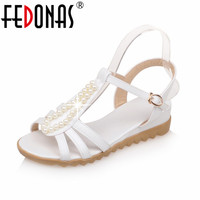 FEDONAS New National Style Women Sandals Bohemia Flats Beaded Foreign Trade Shoes Summer Shoes Women Shoes