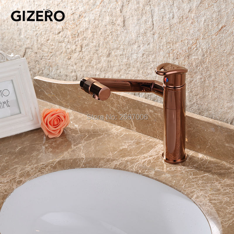 GIZERO New 360 degree Rotatable Rose Gold Bathroom Vanity Sink Faucet Short/Tall Deck Mount Mixer Taps with Hot Cold Water GI557