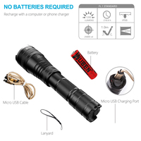 LED Zoomable Tactical Flashlight USB Rechargeable Cree XPL2 V5 1200 Lumens Powerful Torch Light Waterproof IPX8