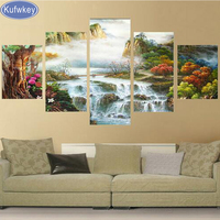 Landscape Waterfall Home Decoration 5d Diy Diamond Painting 5pcs Square Drill Full Diamond Embroidery Triptych Cross