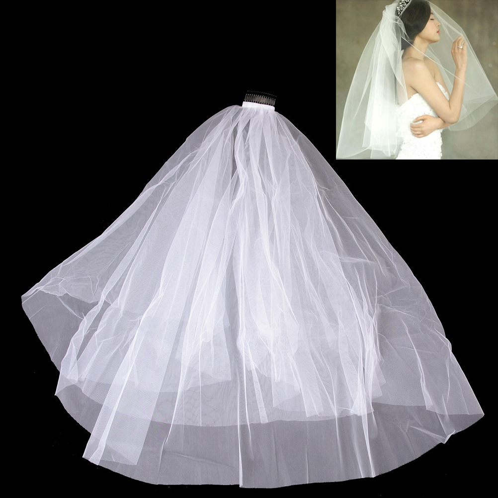 60 80cm Short Women Veil With Comb Wedding Simple Tulle