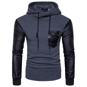 Hip Hop Street Men Hoodies Sweatshirt Spliced Pullover