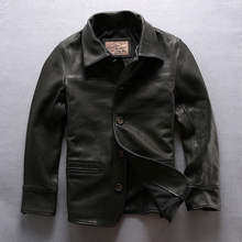 DHL free shipping Men's Genuine Leather Jacket Brand Thick Soft Cowhide Motorcyc