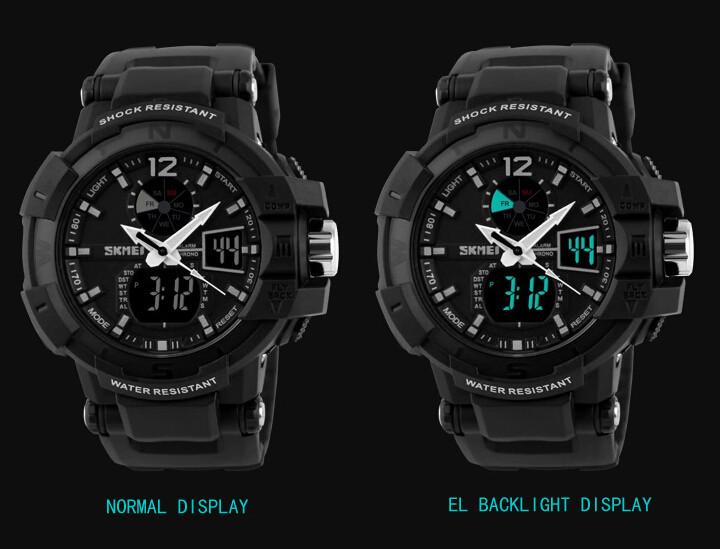 SKMEI 1040 Men LED Digital Quartz Military Watch Black