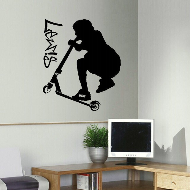 LARGE PERSONALISED STUNT SCOOTER TEENAGE BEDROOM WALL ART STICKER TRANSFER  DECAL DIY Wallpaper