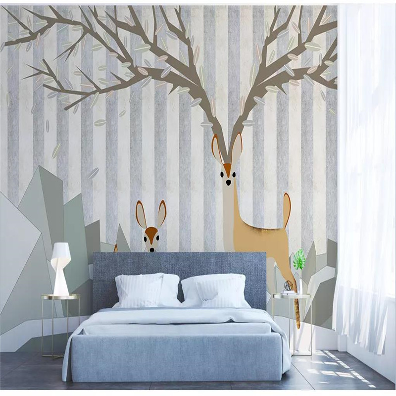 Custom 3d wallpaper Nordic simple elk abstract geometric square sofa living room wall quality material waterproof in Wallpapers from Home Improvement