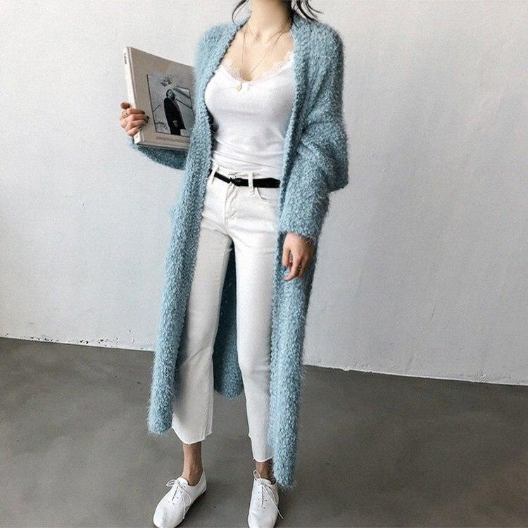 Suéter De Bolsillos Rosa Chaqueta Outwear Largos Flojo Salvajes Mujeres  Peluche Las 2018 Azul rosado Abierto ... 46339cd30024