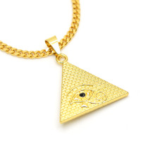 JHNBY Pyramids pendant High Quality fashion Charm Hiphop gold-color 70cm Long Cuban chain statement necklace men Jewelry