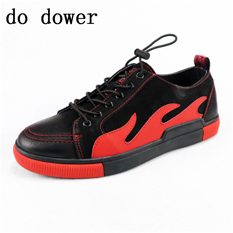 Spring New Hot Men Casual Shoes Luxury Trainers Summer Male Young Male Genuine Leather Shoes Lace-up Flats Red Print Sneakers ege brand handmade genuine leather spring shoes lace up breathable men casual shoes new fashion designer red flat male shoes