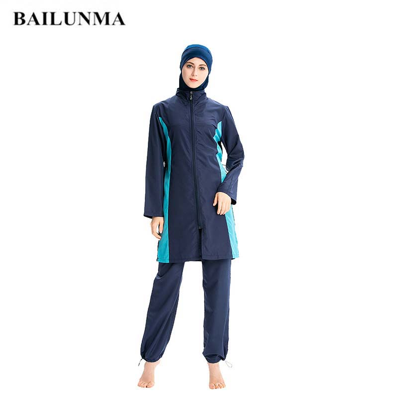 BAILUNMA Burkinis Muslim Swimwear Women Sport Clothing Modest Muslim Swimsuit Loose Conservative Full Cover Thin Sportswear