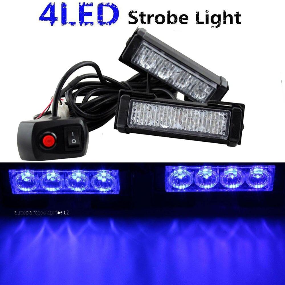 24w 2 4 led strobe lights blue police emergency flashing warning light. Black Bedroom Furniture Sets. Home Design Ideas