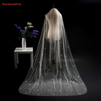Cheap Long Cathedral Bridal Veil With Comb One Layer 3 Meters Wedding Veils Lace Edge Weddings