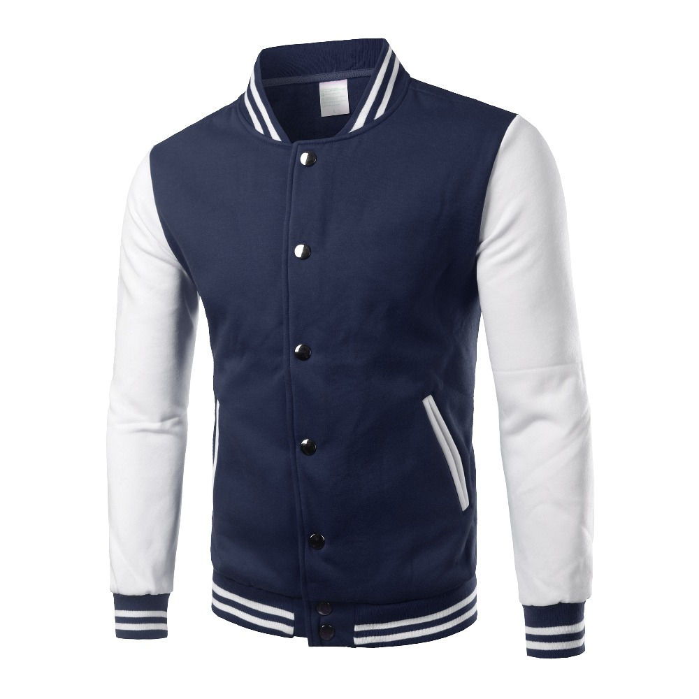 Image 3 - Brand White Varsity Baseball Jacket Men/Women 2016 Fashion Slim Fit Fleece Cotton College Jackets For Fall Bomber Veste Homme-in Jackets from Men's Clothing