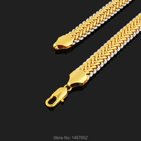 New Trendy Two Tone Necklace Gold/Silver Plated 11MM 22 Inches Snake Chain Necklaces Jewelry Men
