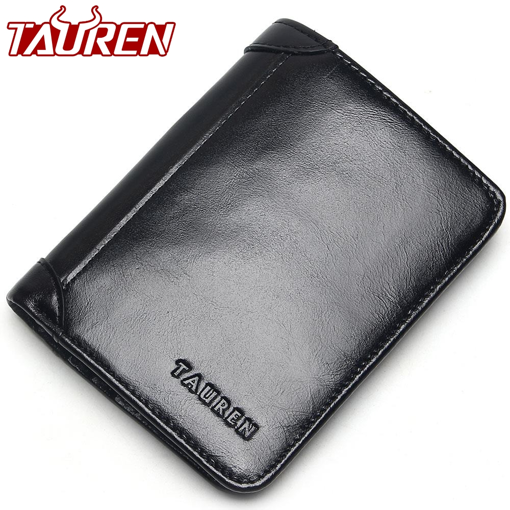 100% Genuine Leather Wallet Oil Wax Leather Bifold Men Wallet Casual Soild Men Wallets With Coin Pocket Purses Male Wallets men wallets 100