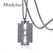 Modyle Vintage Surface Steampunk Razor Blade Necklace Men Stainless Steel Shaver Shape Necklaces Pendants Punk Rock Jewelry
