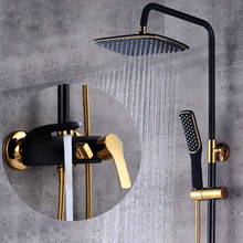 High-end black and gold shower set with European baking lacquer gilt tienlu ceramic white