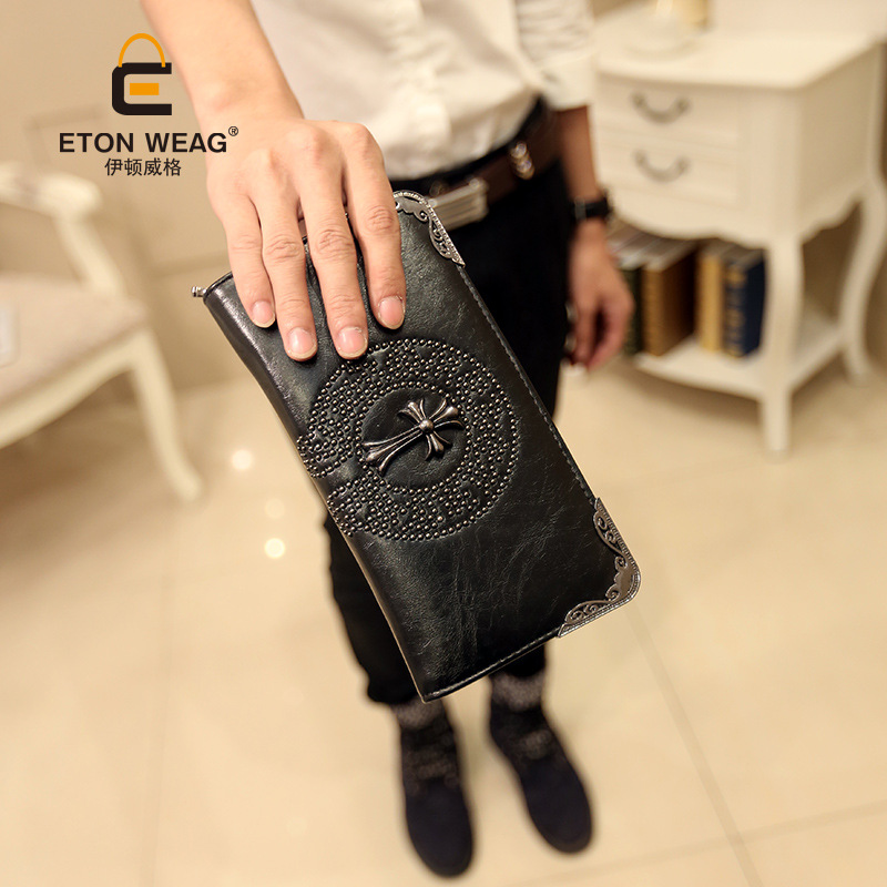 ETONWEAG Famous Brands Leather Credit Card Wallet Womens Wallets And Purses Black Crucifix Rivet Clutch Bags Zipper Coin Purse the link between race and credit card debt