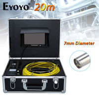 Eyoyo 20M 7 LCD 7mm Pipe Pipeline Drain Inspection Sewer Video Camera CCTV CMOS 1000TVL TFT HD Sun Shield Cam Snake Inspection