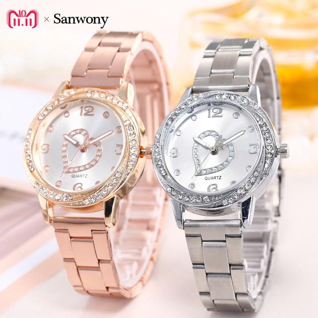 Women Fashion Stainless Love Steel Band Analog Quartz Round Wrist Watch Watches