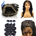 Alicrown Pre Plucked 360 Frontal With Bundles 7a Brazillian Body Wave With Closure 2PC3PC Human Hair Bundles With 360 Closures
