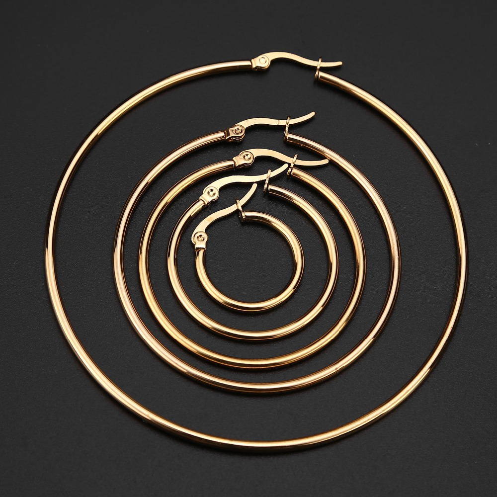 5 Pairs Gold tone stainless steel Hoop Earrings