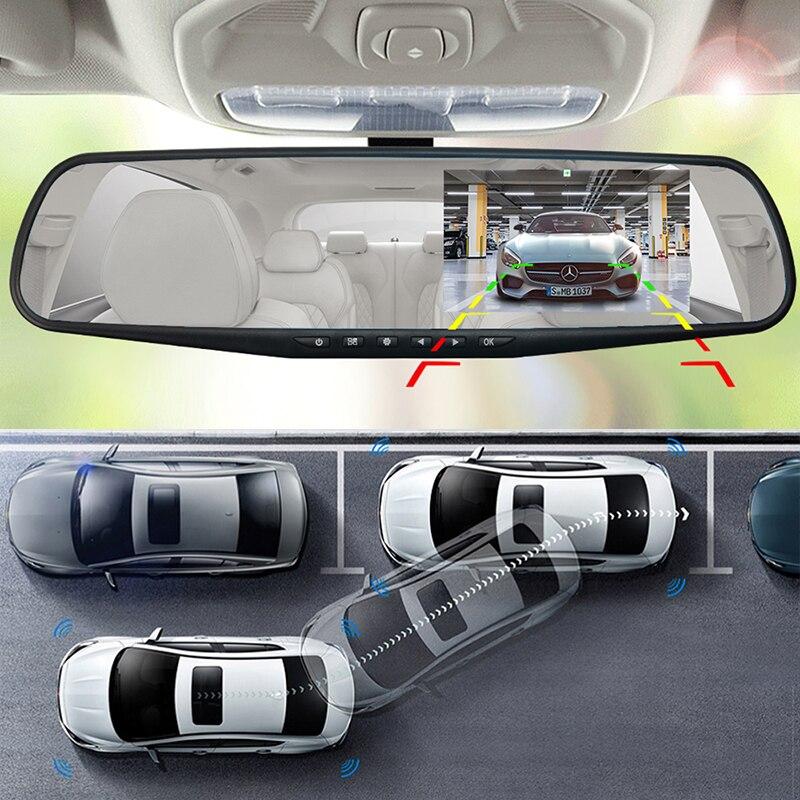 Автомобильный видеорегистратор, камера с белым экраном 4,3 дюймов, Автомобильное зеркало заднего вида, Автомобильные видеорегистраторы с дв...