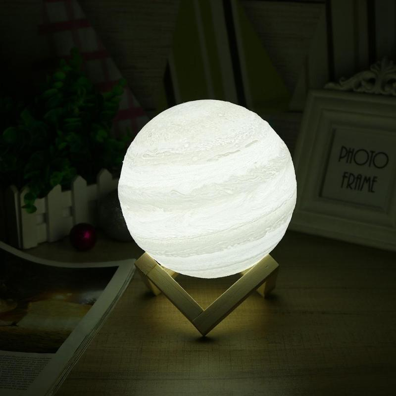 USB Rechargeable 3D Printing LED Moon Lamp 2 Color Change Touch Switch Jupiter Night Light Home Bedroom Decor Gift