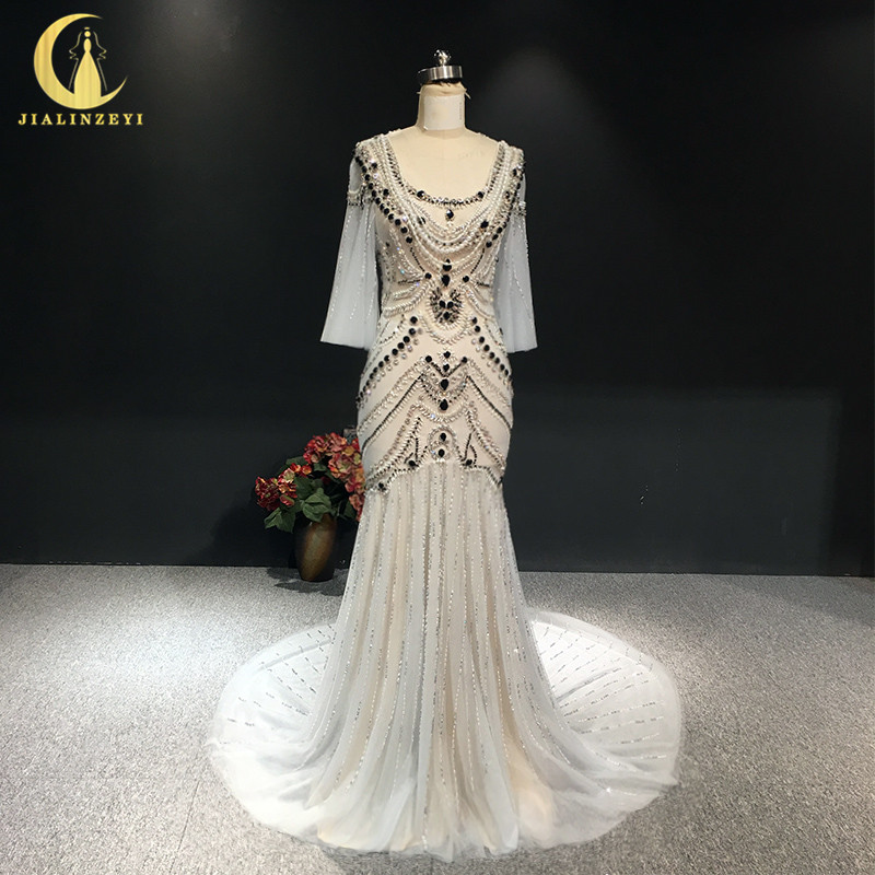 JIALINZEYI Real Sexy Luxe Kristal Hoge Kwaliteit Mermaid jurken Licht Sliver Hot Koop Avondjurken 2019