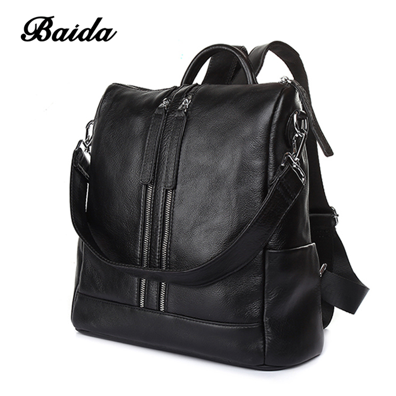 Women Backpacks  Fashion School Bag For Teenage Girls High Quality Genuine Leather Vintage Waterproof Backpack Travel Bags 2 1m fishing rod reel kit telescopic spinning rods portable mini pen fish rod telescope spin fishing pole rod reel combo tackle