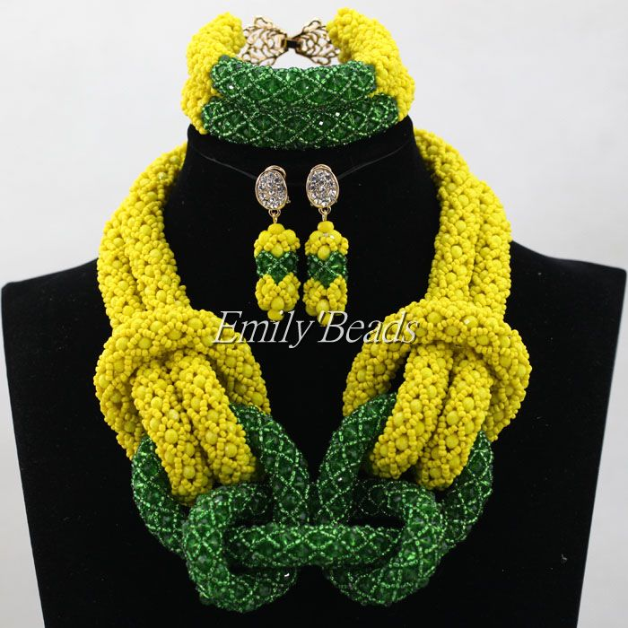 Bridal Jewelry Sets Yellow/Green Nigerian Wedding African Beads Jewelry Set Crystal Women New Necklace Set Free Shipping ALJ486 цена