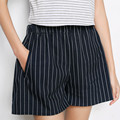 Algodão Listrado Shorts Saias Mulheres Verão Calções de Marca Casual Curto Meninas Casuais Solta Calções Do Vintage