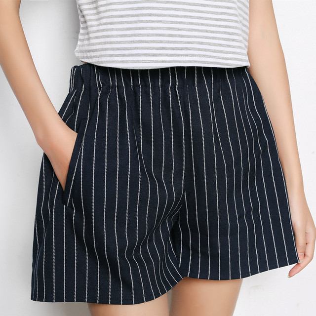Cotton Striped Shorts Skirts Women Summer Brand Shorts Casual Short Casual Girls Loose Vintage Shorts