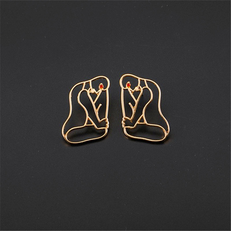 Unique personality exaggerated metal hollow out face earrings Abstract human women stud