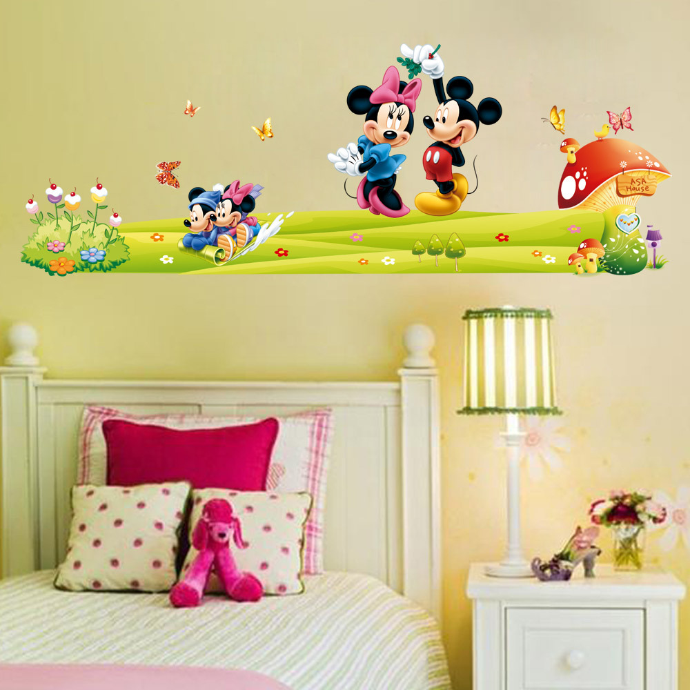 Mickey Mouse and Minnie Mouse Wall Sticker Boys Girls Kids Room ...