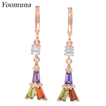 Fashion Geometric earrings For Women cubic zirconia stone crystal Dangle Earrings rose gold 585 multicolor Drop Earring Jewelry gold earrings with topaz and cubic zirconia 725148 sunlight test 585