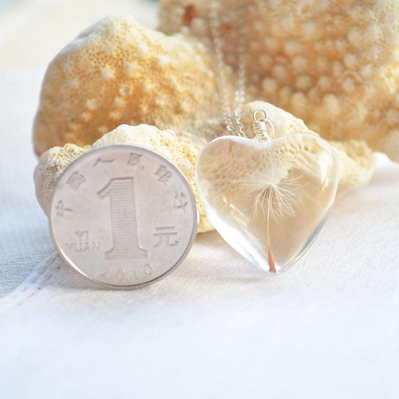 Dandelion Make a Wish Real Flower Big Heart Love Colgante Collar de - Bisutería - foto 6