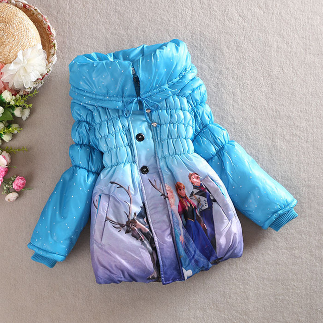 Retail Blue Red Cartoon Girl Coat Jacket Kid Girls Winter Outerwear Girl Jacket Children Thick Clothes for 4-7 years old