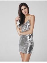 Ayseguney 2017 Womens Summer Sexy Sleeveless Spaghetti Strap V Neck Dress Sequined Shining backless Party Short Dress