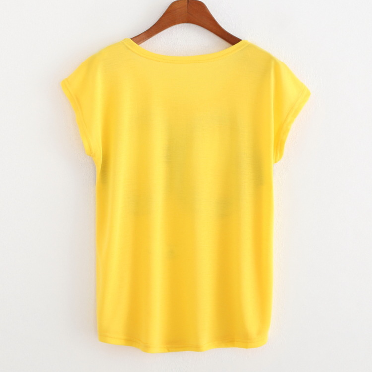 New Fashion Women T Shirts Short Sleeve Yellow Print Minion T ...