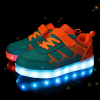 KKABBYII Kids Luminous Sneakers New Spring Autumn Breathable Sports Shoes Boys Girls USB Charger Led Light