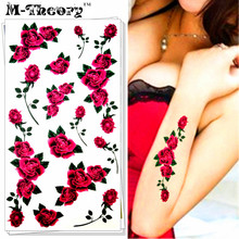 M-Theory Small Red Roses Body Makeup Temporary 3d Tattoos Sticker Flash Tatoos Henna Body Arts Tatto Swimsuit Makeup Tools