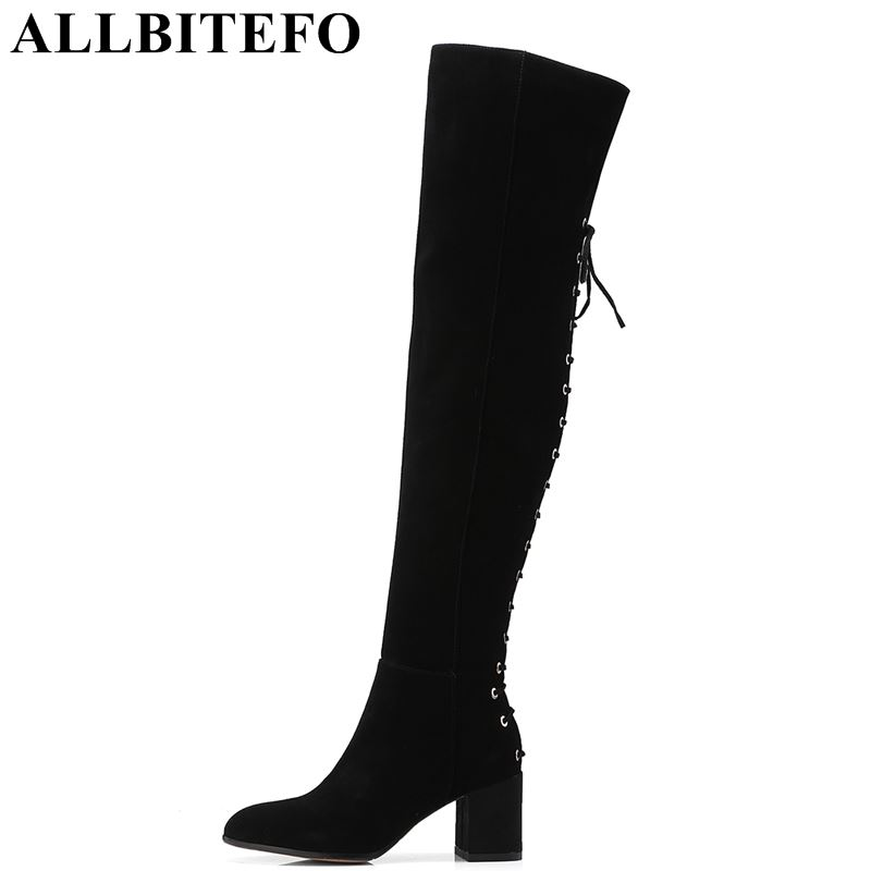 ALLBITEFO size:33-41 Nubuck leather thick heel women boots brand high heels women over the knee boots winter snow girls boots allbitefo over the knee boots nubuck leather medium heel women boots 4 colors winter boots thick heel snow boots size 33 43