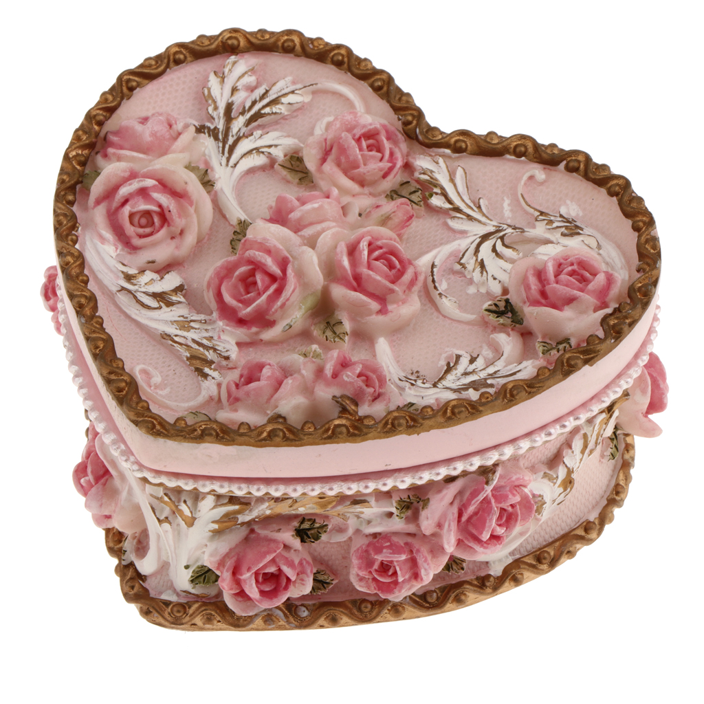 Vintage Heart Oval Roses Flower Ring Earring Jewelry Resin Box ...