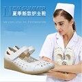 2015 profesional Cuñas Blancas Zapatos de Trabajo de Enfermería Zapatos Para Mujeres de la Alta Calidad Slip-on zapatos de la Enfermera X486 = 50