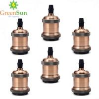 GreenSun Red Brass E27 Industrial Bulb Holder Vintage Screw Bulb Base Pendant Lighting Socket Ceiling Light Adaptor