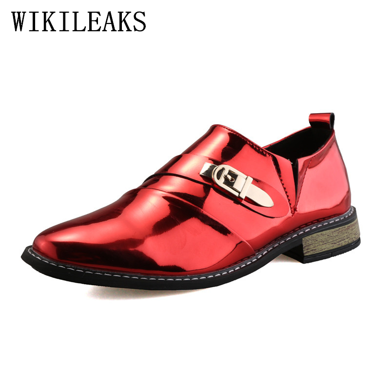 2018 designer luxury brand wedding shoes man patent leather metal buckle business shoes for men formal mariage mens dress shoes fashion top brand italian designer mens wedding shoes men polish patent leather luxury dress shoes man flats for business 2016