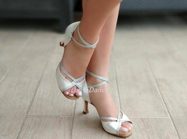 Sexy White Wedding Salsa Latin Ballroom Salsa Tango Bachata Mambo Dance  Shoes Salsa Wedding Dance High Heels DS501 c988c3303411