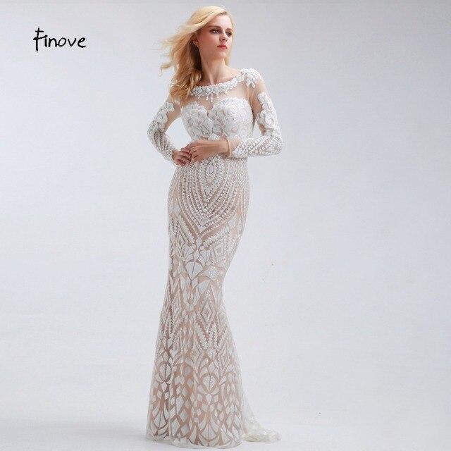 21cbe8277c5e5 Bianco Paillettes Sirena Abiti Da Sera Lungo 2017 Elegante con Manica Lunga  Scoop Neck Tulle Tessuto ...